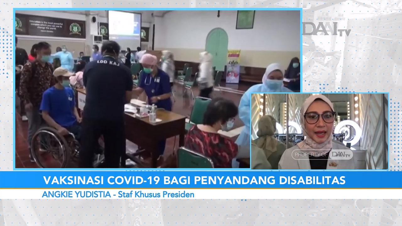 Angkie Yudistia, stafsus presiden dalam bincang talkshow program Halo Indonesia DAAI TV. Angkie menjelaskan pentingnya vaksin bagi disabilitas, mengingat layanan kesehatan dan karantian yang belum ramah disabilitas. (Foto : Youtube/Halo Indonesia DAAI TV)